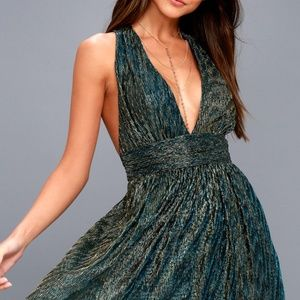 Lulu's Ailey Gold and Teal Blue Skater Dress